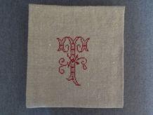 Torchon ancien chanvre monogramme brodé T