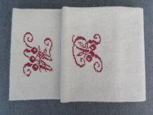 Torchon ancien double monogrammes brodés RM