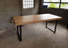 Table Chene Massif Fer Industrielle