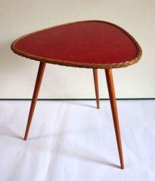Table basse tripode bois et rotin – années 60