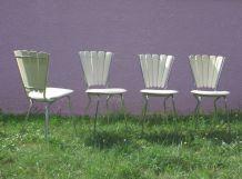4 chaises pétale skai blanc
