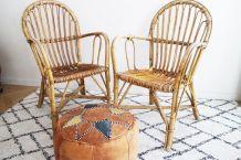 Paire de fauteuils en rotin des années 70