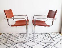 Paire de fauteuils style Marcel Breuer années 70 cognac
