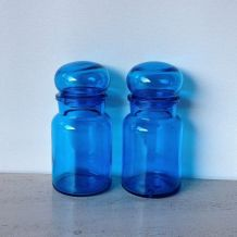 Paire de bocaux d'apothicaire bleus