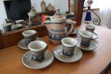 SERVICE A CAFE COMPLET ARTISANAT EGYPTIEN TERRE CUITE 13 PCS