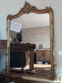 Miroir XIX plâtre doré et stuc 165cm (H) 115cm (L)