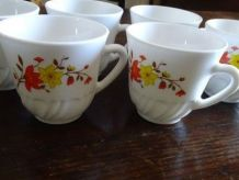 6 tasses à café motif floral orange/jaune