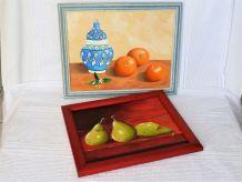 Peinture oranges et poires à l'huile sur toile .
