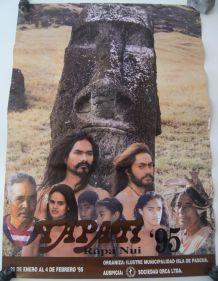 Affiche tapati rapa nui 1995 îles de pâques moai
