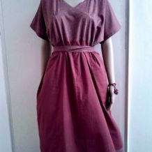 Robe bicolore coton indien prune, pourpre,Taille M