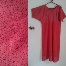 Robe, tunique  coton indien rouge bicolore ,block print S/M