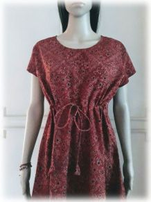 Robe/tunique coton indien, imprimé à la main,Brique,S/M