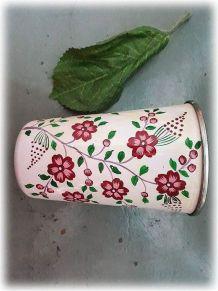 Gobelet/pot/vase inox peint main fleurs blanc Inde