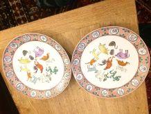 3 assiettes en porcelaine de chine