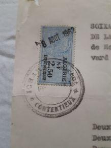 Timbre fiscal Algérie 1962 et documents rapatriés