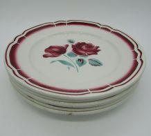 6 anciennes assiettes plates Badonviller décor de roses