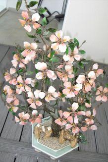 arbre  feng shui de quartz rose et jade