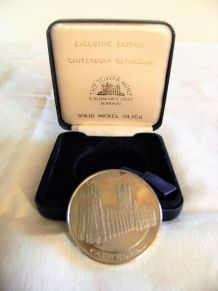 Médaille cathédrale Canterburry nickel argent
