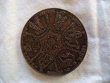 """Médaille bronze """"mes voeux"""" signée Devigne poésie"""