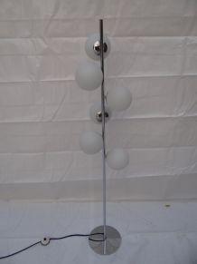Lampadaire Années 70 avec 6 globes satinés
