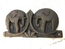Ancienne balance cuivre coffret bois sculpture éléphant