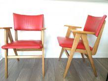 Paire de fauteuils bridge années 50 pieds compas