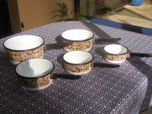 série de 5 casseroles émaillées vintage