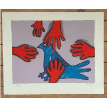 Lithographie de Corneille - La main rouge (EA 38/80) signée