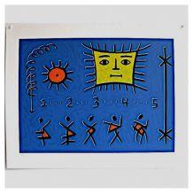 Sérigraphie de Ken KENAN, The return of five, signée, Nº 99/