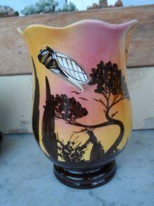 Ancien Vase Monaco cigale signé LAMARCHE