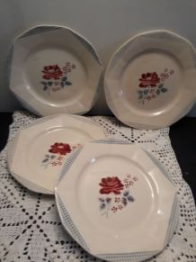 "4 ASSIETTES  porcelaine DIGOIN ""JOSIANE"""