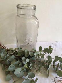 Grand bocal ancien en verre bullé avec monogramme