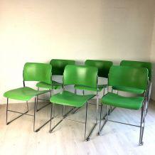6 Chaises 40/4 vertes vintage 60's par David Rowland