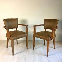 Paire de fauteuils Bridge en cuir vintage 50's