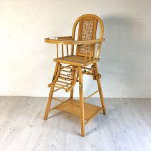 Chaise pour bébé vintage en bois et cannage