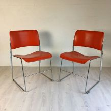 Paire de Chaises 40/4 orange vintage 60's par David Rowland