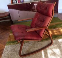 magnifique rocking chair vintage scandinave