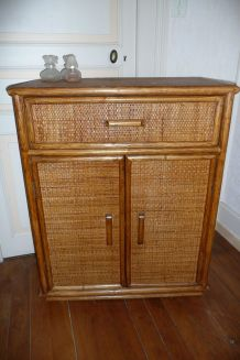 Commode meuble rotin vintage