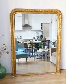 Grand miroir de cheminée XIXème 160x120 bois et stuc