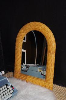 Miroir osier tressé à plat
