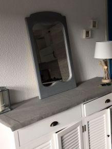 Grand Miroir bois gris pâtiné 85 cm´x 52 cm