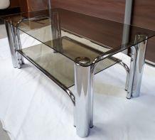 petite table basse en verre fume  1970