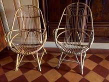 Paire de fauteuils en rotin vintage, rare