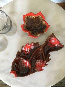 Lot de 2 plats : Vallauris en forme de poisson et feuille