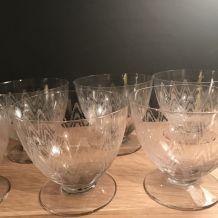 6 verres gravés ancien