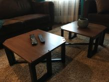 2 petites tables basses style atelier industriel
