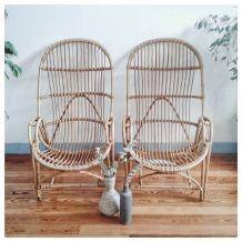 Paire de fauteuils en rotin