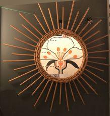 Miroir soleil en osier - vintage