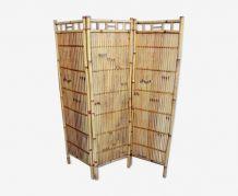 Paravent 3 panneaux en bambou vintage