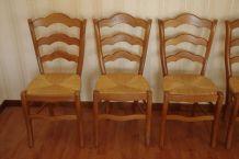Chaises en chêne massif avec assise en paille